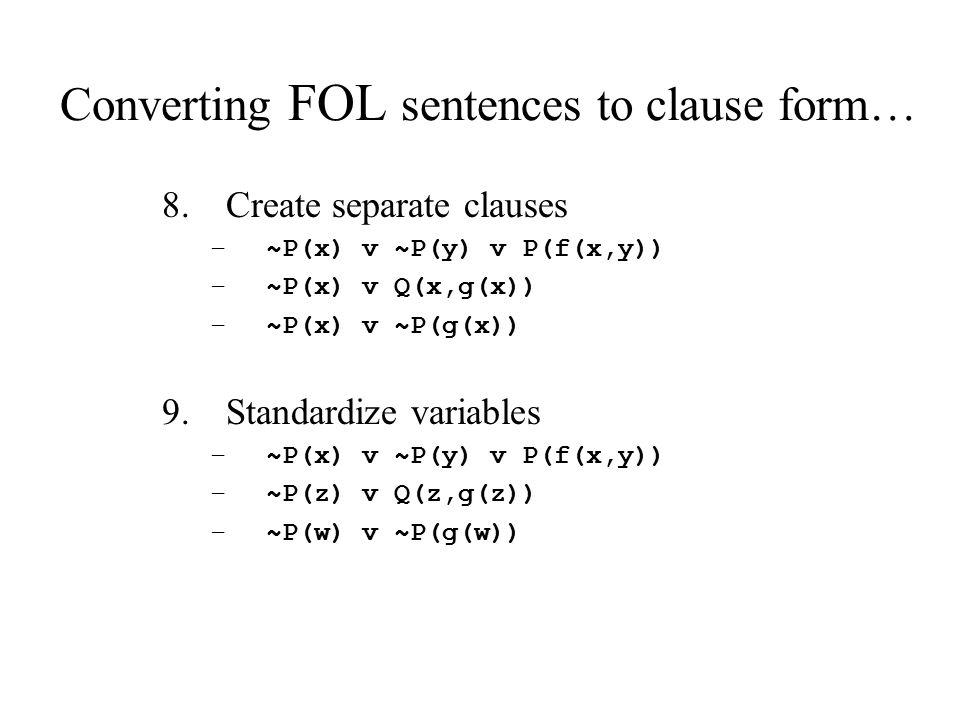 Converting FOL sentences to clause form… 8.Create separate clauses –~P(x) v ~P(y) v P(f(x,y)) –~P(x) v Q(x,g(x)) –~P(x) v ~P(g(x)) 9.Standardize varia