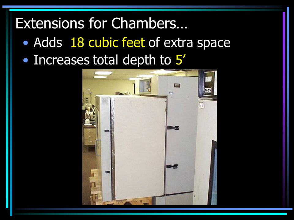 Extensions for Chambers… Adds 18 cubic feet of extra space Increases total depth to 5'