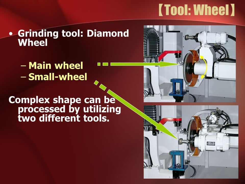 【 Tool: Wheel 】 Grinding tool: Diamond Wheel –Main wheel –Small-wheel Complex shape can be processed by utilizing two different tools.
