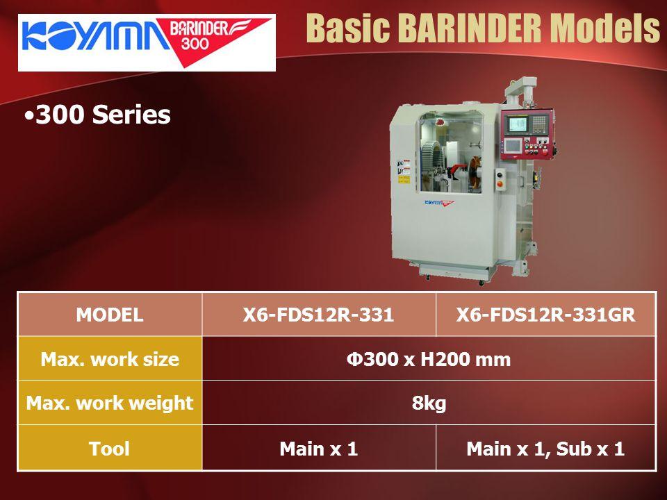 Basic BARINDER Models 300 Series MODELX6-FDS12R-331X6-FDS12R-331GR Max. work sizeΦ300 x H200 mm Max. work weight8kg ToolMain x 1Main x 1, Sub x 1