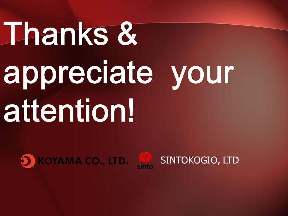 Thanks & appreciate your attention! SINTOKOGIO, LTD