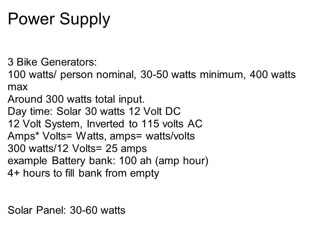 Power Supply 3 Bike Generators: 100 watts/ person nominal, 30-50 watts minimum, 400 watts max Around 300 watts total input. Day time: Solar 30 watts 1
