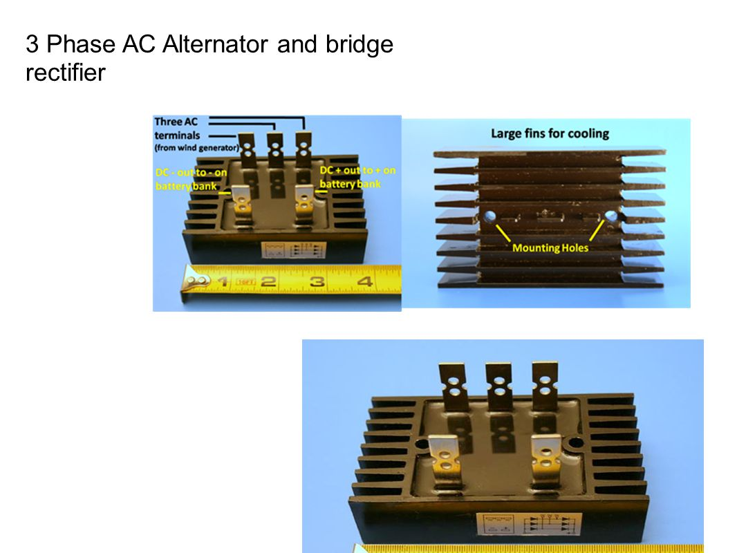 3 Phase AC Alternator and bridge rectifier