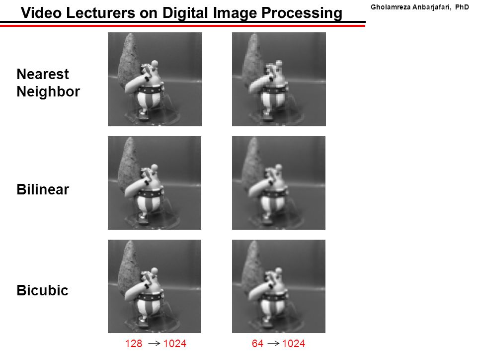 Gholamreza Anbarjafari, PhD Video Lecturers on Digital Image Processing Nearest Neighbor 64 1024128 1024 Bilinear Bicubic