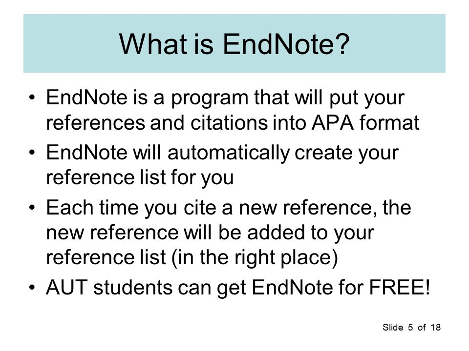 Slide 6 of 18 The Computer Literacy Videos You can use the Videos to learn about Word, APA Format, EndNote, … The videos are too long to play over the Internet –50 videos –Over 2 hours total You will need to copy the videos to CD-ROM for use at home See Video 1e to see how to do this or get the Videos copied when you get a copy of EndNote in AL125