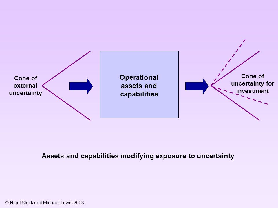 © Nigel Slack and Michael Lewis 2003 Operational assets and capabilities Cone of external uncertainty Cone of uncertainty for investment Assets and capabilities modifying exposure to uncertainty