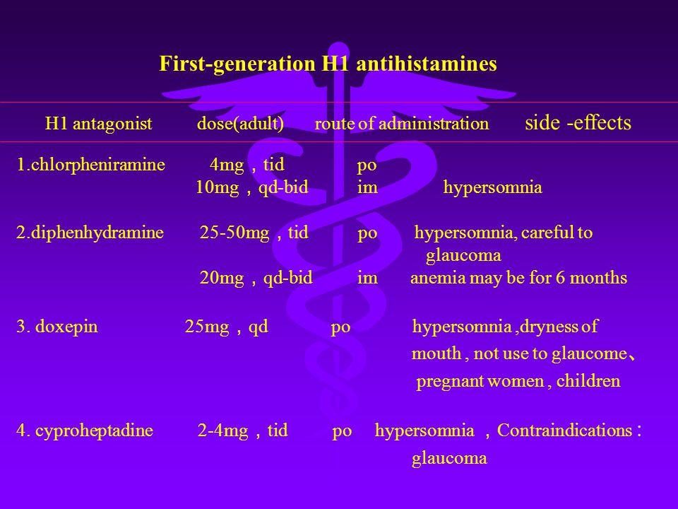 1.chlorpheniramine 4mg , tid po 10mg , qd-bid im hypersomnia 2.diphenhydramine 25-50mg , tid po hypersomnia, careful to glaucoma 20mg , qd-bid im anemia may be for 6 months 3.