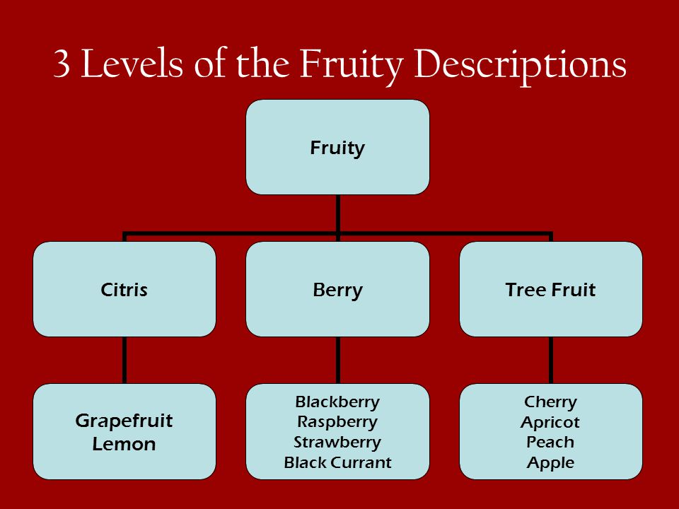 3 Levels of the Fruity Descriptions Fruity Citris Grapefruit Lemon Berry Blackberry Raspberry Strawberry Black Currant Tree Fruit Cherry Apricot Peach Apple
