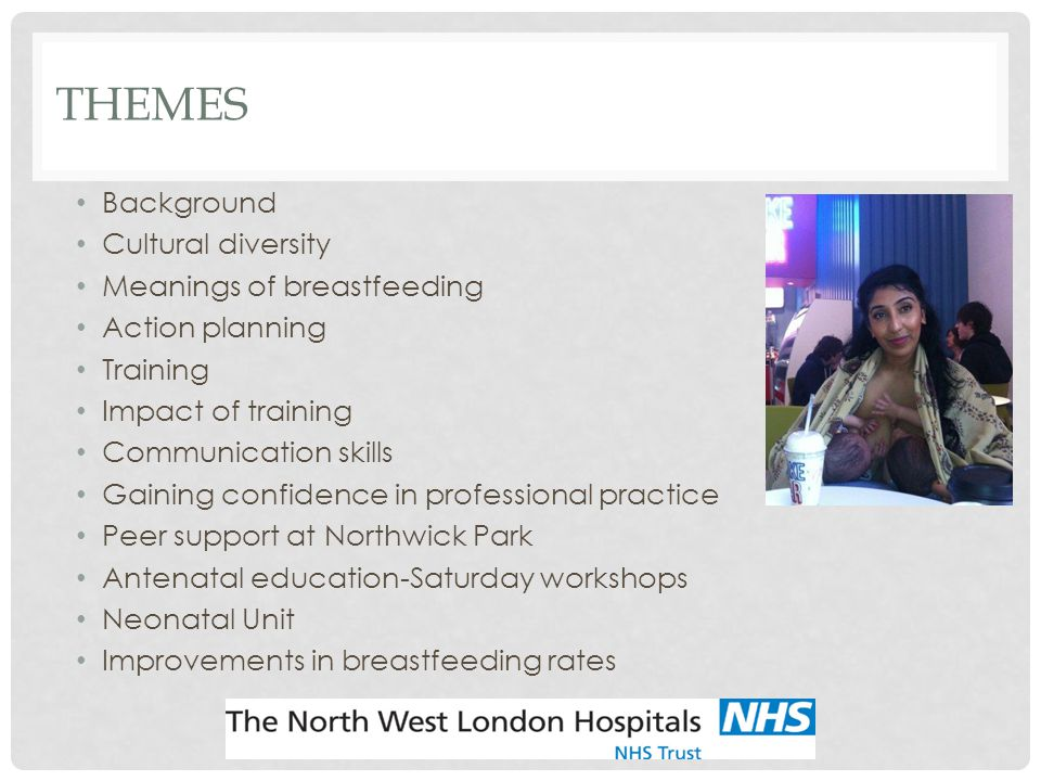 THEMES Background Cultural diversity Meanings of breastfeeding Action planning Training Impact of training Communication skills Gaining confidence in professional practice Peer support at Northwick Park Antenatal education-Saturday workshops Neonatal Unit Improvements in breastfeeding rates