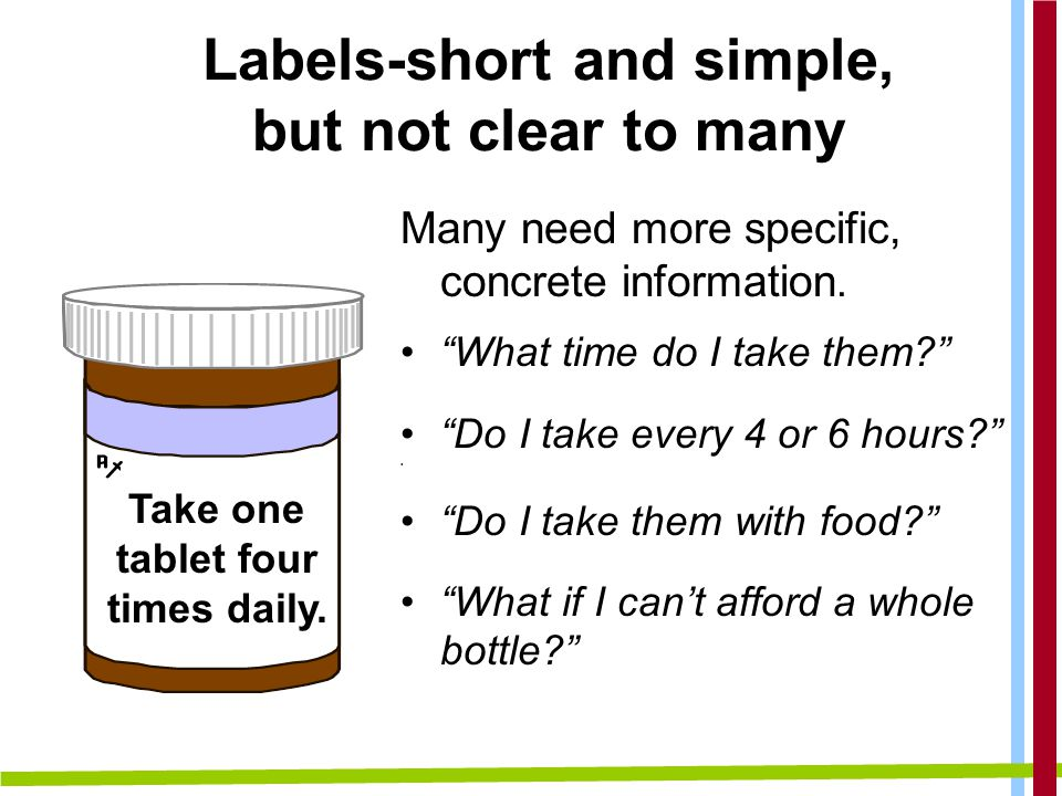 Labels-short and simple, but not clear to many Many need more specific, concrete information.