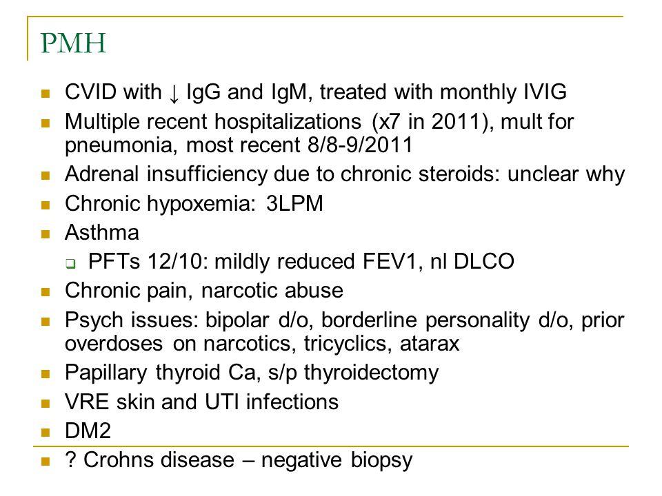 PMH PSH: gastric bypass, CCY, tonsillectomy, sinus surgeries x2, hiatal hernia repair, PFO closure SH: on disability, married.