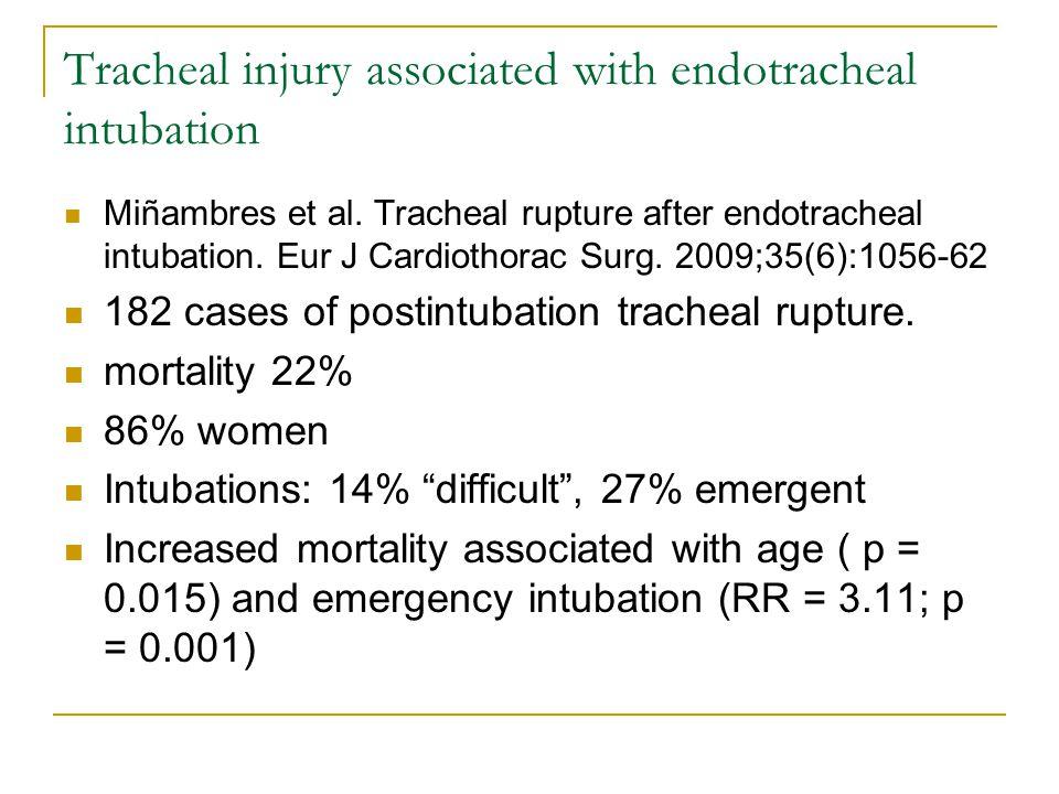 Tracheal injury associated with endotracheal intubation Miñambres et al.