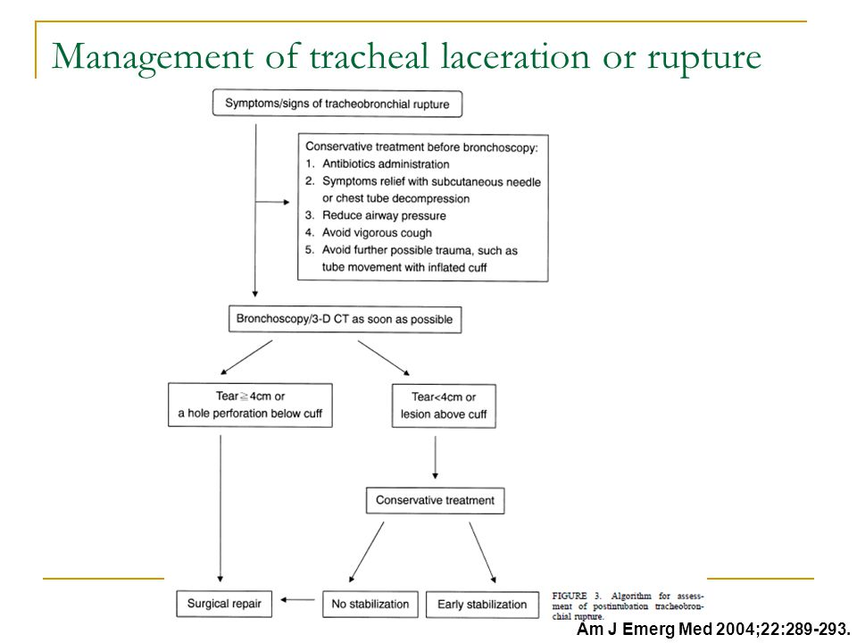 Management of tracheal laceration or rupture Am J Emerg Med 2004;22:289-293.