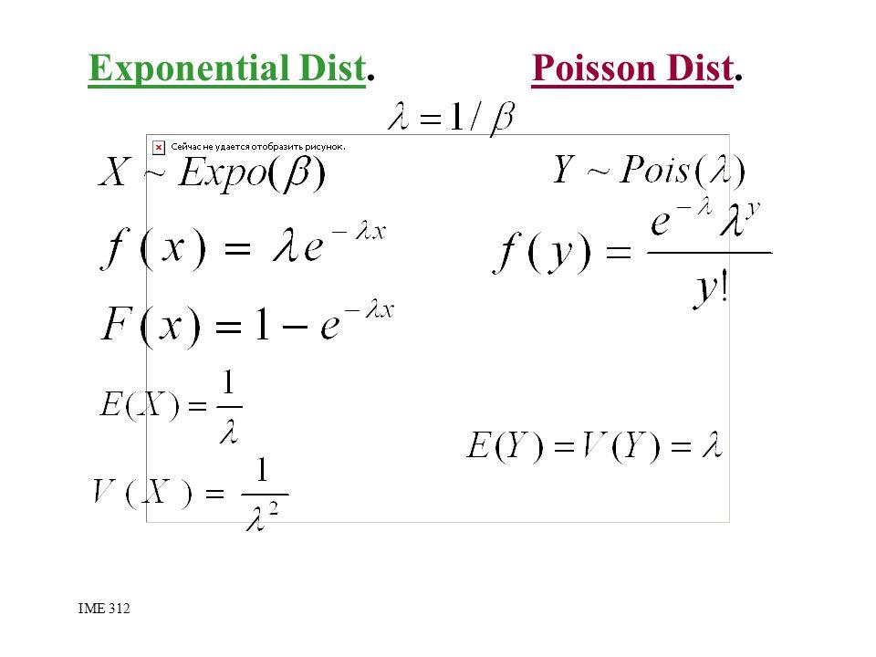 Exponential Dist. Poisson Dist. IME 312