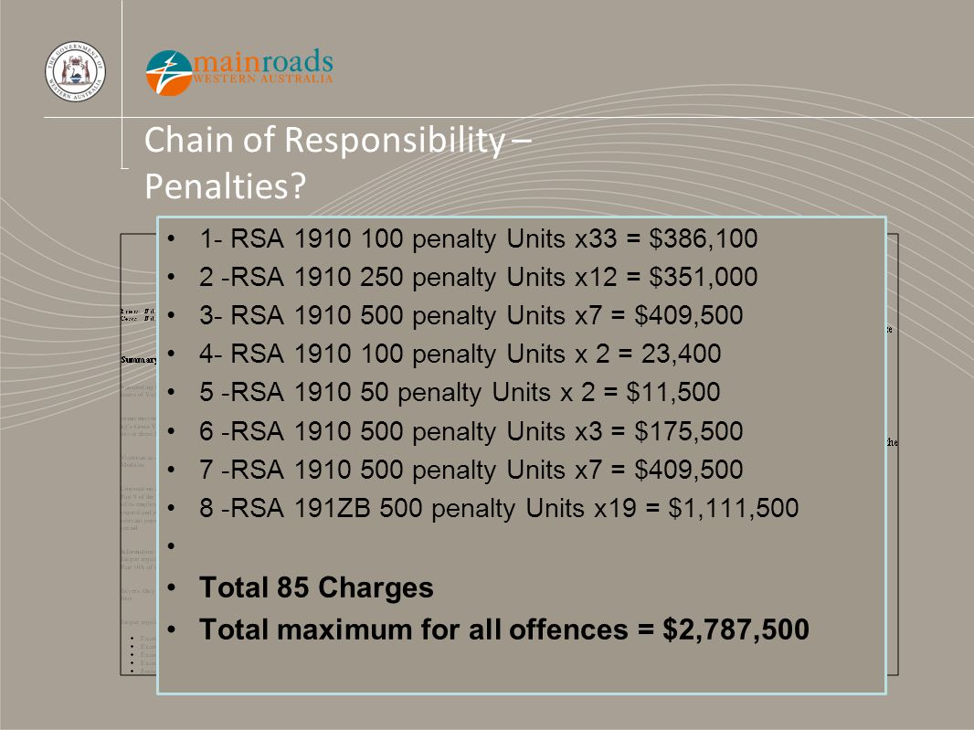Chain of Responsibility – Penalties? 1- RSA 1910 100 penalty Units x33 = $386,100 2 -RSA 1910 250 penalty Units x12 = $351,000 3- RSA 1910 500 penalty