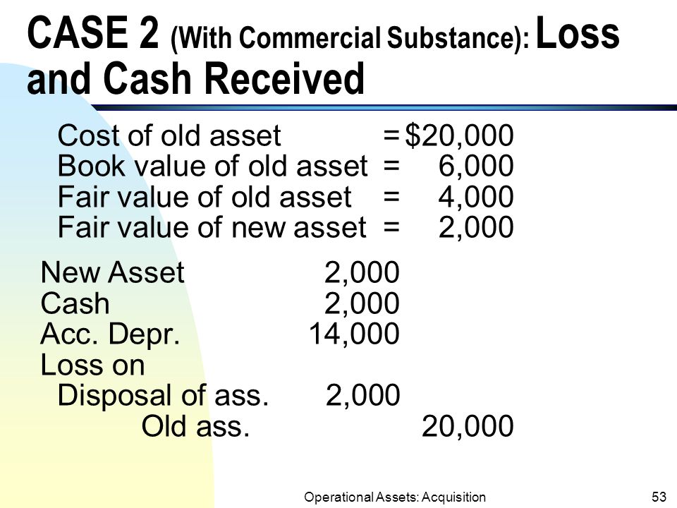Operational Assets: Acquisition52 CASE 1 (With Commercial Substance) : Loss and Cash Paid Cost of old asset=$20,000 Book value of old asset=6,000 Fair value of old asset=4,000 Fair value of new asset=9,000 New Asset9,000 Acc.