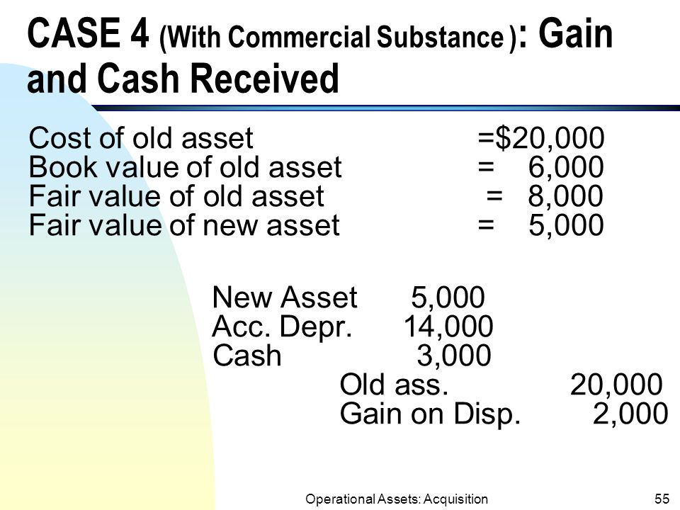 Operational Assets: Acquisition54 CASE 3 (With Commercial Substance) : Gain and Cash Paid Cost of old asset=$20,000 Book value of old asset= 6,000 Fair value of old asset= 8,000 Fair value of new asset= 12,000 New Asset 12,000 Acc.
