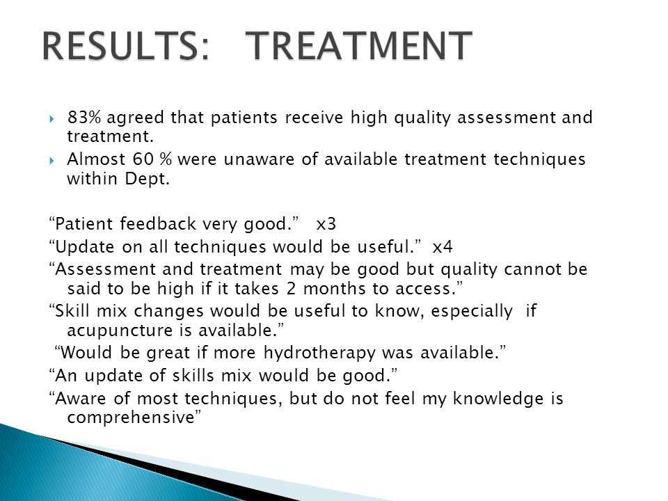  83% agreed that patients receive high quality assessment and treatment.