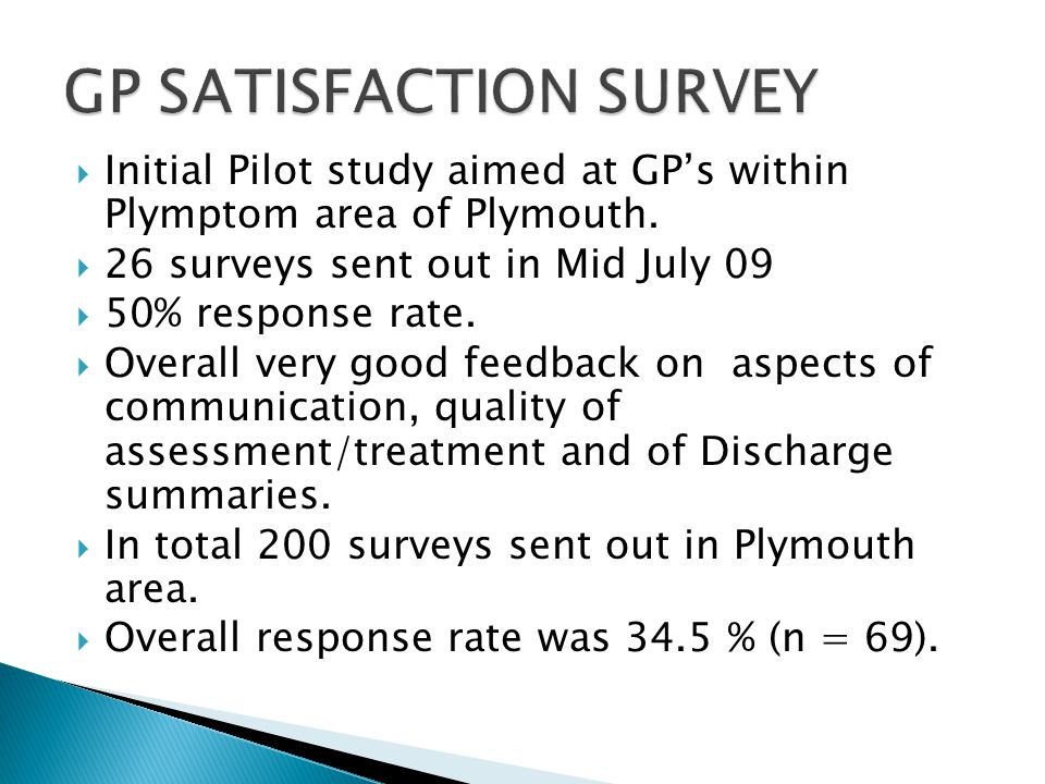  Initial Pilot study aimed at GP's within Plymptom area of Plymouth.