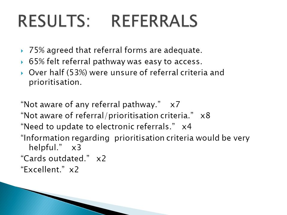  75% agreed that referral forms are adequate.  65% felt referral pathway was easy to access.