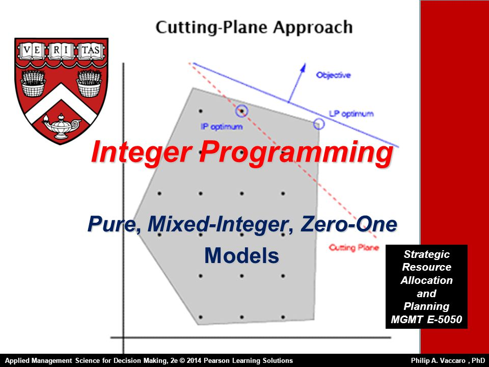 Integer Programming Pure, Mixed-Integer, Zero-One Models Strategic Resource Allocation and Planning MGMT E-5050 Applied Management Science for Decision Making, 2e © 2014 Pearson Learning Solutions Philip A.