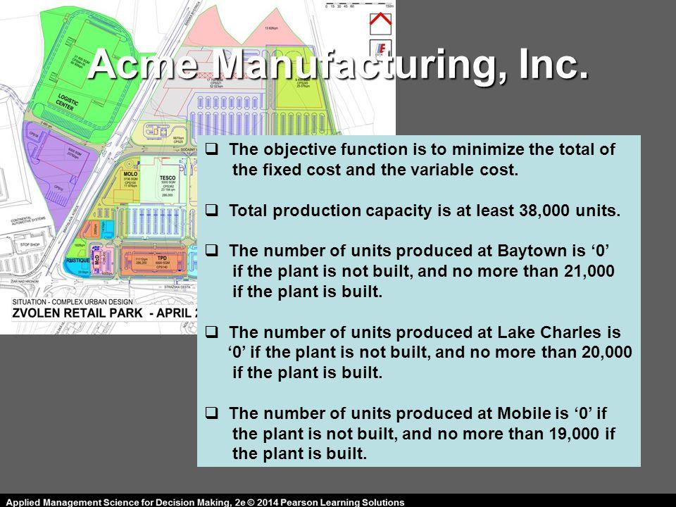 Acme Manufacturing, Inc.