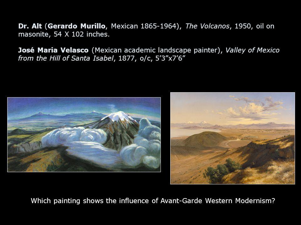 Dr. Alt (Gerardo Murillo, Mexican 1865-1964), The Volcanos, 1950, oil on masonite, 54 X 102 inches. José Maria Velasco (Mexican academic landscape pai
