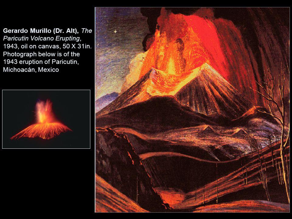 Gerardo Murillo (Dr. Alt), The Paricutin Volcano Erupting, 1943, oil on canvas, 50 X 31in. Photograph below is of the 1943 eruption of Paricutin, Mich
