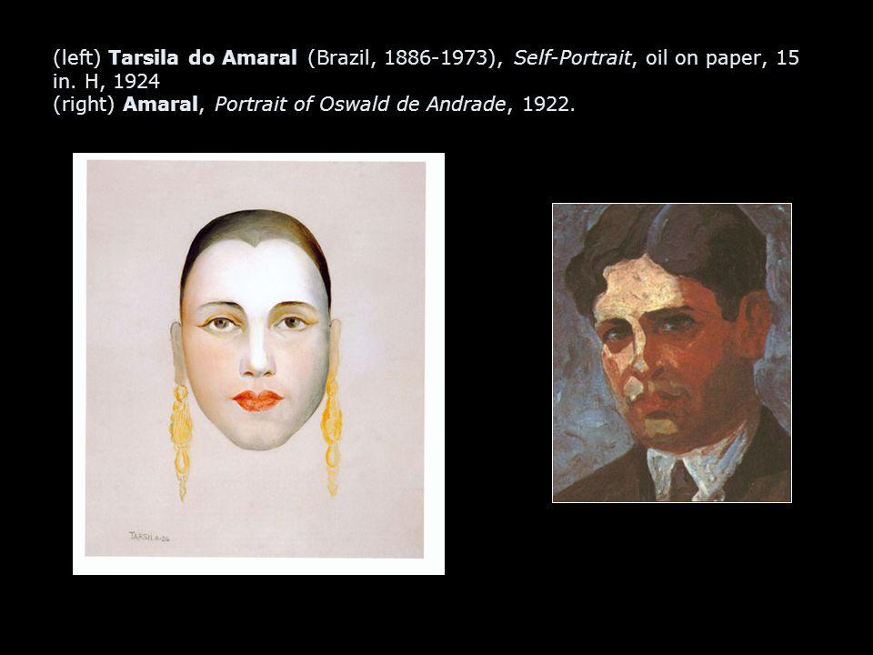 (left) Tarsila do Amaral (Brazil, 1886-1973), Self-Portrait, oil on paper, 15 in. H, 1924 (right) Amaral, Portrait of Oswald de Andrade, 1922.