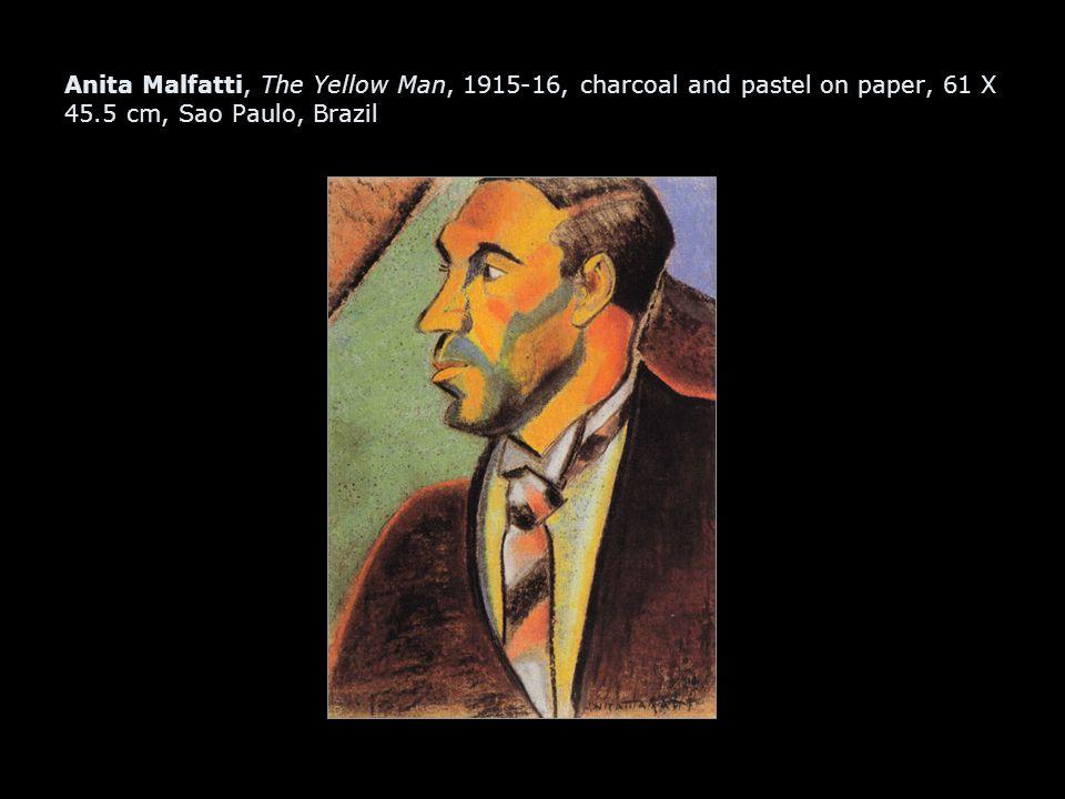 Anita Malfatti, The Yellow Man, 1915-16, charcoal and pastel on paper, 61 X 45.5 cm, Sao Paulo, Brazil