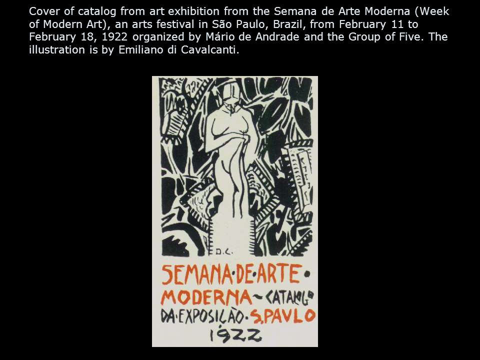 Cover of catalog from art exhibition from the Semana de Arte Moderna (Week of Modern Art), an arts festival in São Paulo, Brazil, from February 11 to February 18, 1922 organized by Mário de Andrade and the Group of Five.