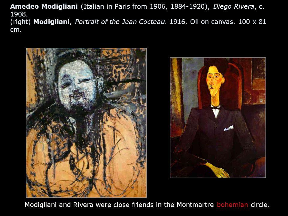 Amedeo Modigliani (Italian in Paris from 1906, 1884-1920), Diego Rivera, c. 1908. (right) Modigliani, Portrait of the Jean Cocteau. 1916, Oil on canva