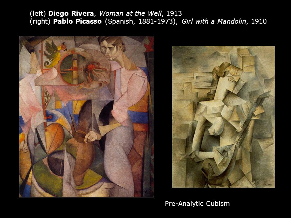 (left) Diego Rivera, Woman at the Well, 1913 (right) Pablo Picasso (Spanish, 1881-1973), Girl with a Mandolin, 1910 Pre-Analytic Cubism
