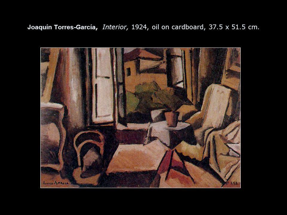 Joaquín Torres-García, Interior, 1924, oil on cardboard, 37.5 x 51.5 cm.