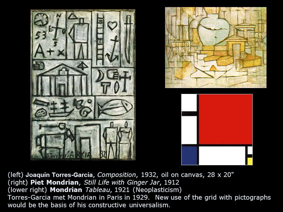 (left) Joaquín Torres-García, Composition, 1932, oil on canvas, 28 x 20