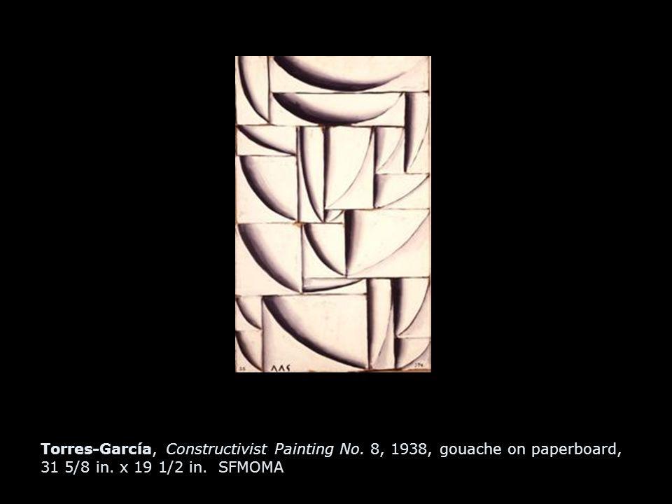 Torres-García, Constructivist Painting No. 8, 1938, gouache on paperboard, 31 5/8 in. x 19 1/2 in. SFMOMA