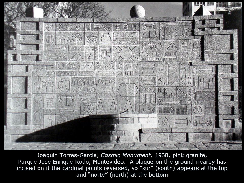 Joaquin Torres-Garcia, Cosmic Monument, 1938, pink granite, Parque Jose Enrique Rodo, Montevideo. A plaque on the ground nearby has incised on it the
