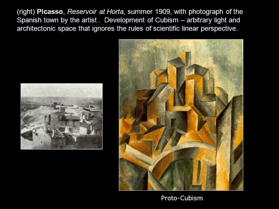 (right) Picasso, Reservoir at Horta, summer 1909, with photograph of the Spanish town by the artist.
