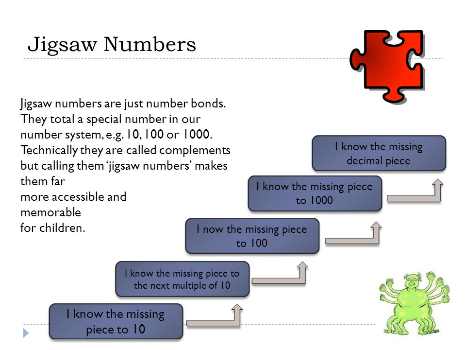 Jigsaw numbers are just number bonds.They total a special number in our number system, e.g.
