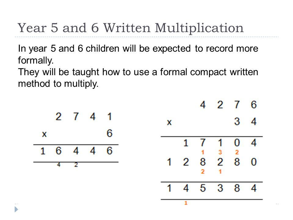 Year 5 and 6 Written Multiplication In year 5 and 6 children will be expected to record more formally.