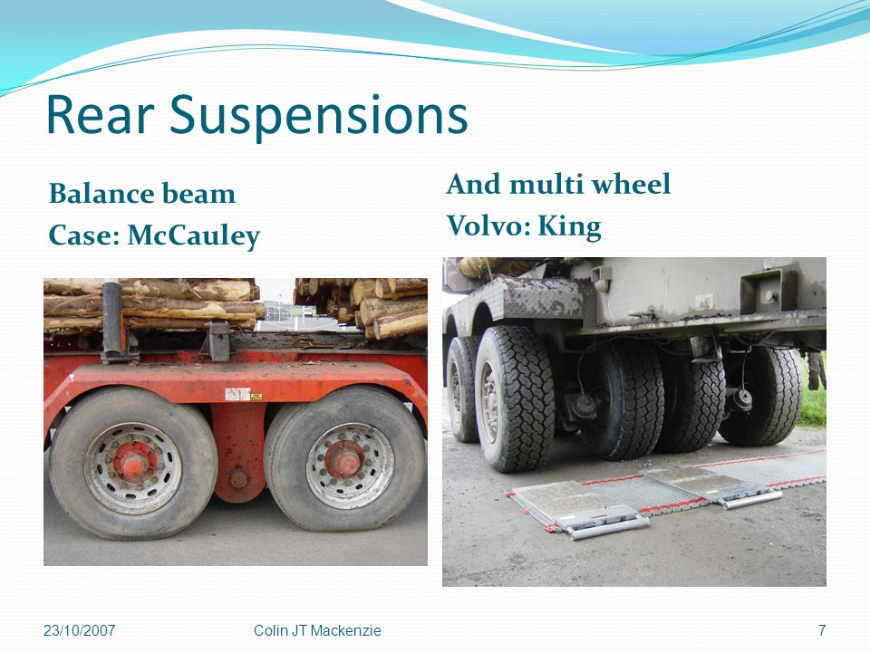 Rear Suspensions Balance beam Case: McCauley And multi wheel Volvo: King 23/10/2007Colin JT Mackenzie7
