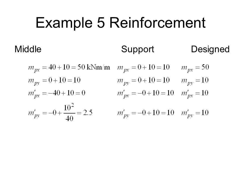 Example 5 Reinforcement Middle Support Designed