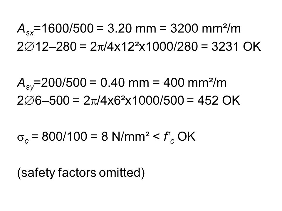 A sx =1600/500 = 3.20 mm = 3200 mm²/m 2  12–280 = 2  /4x12²x1000/280 = 3231 OK A sy =200/500 = 0.40 mm = 400 mm²/m 2  6–500 = 2  /4x6²x1000/500 = 452 OK  c = 800/100 = 8 N/mm² < f' c OK (safety factors omitted)