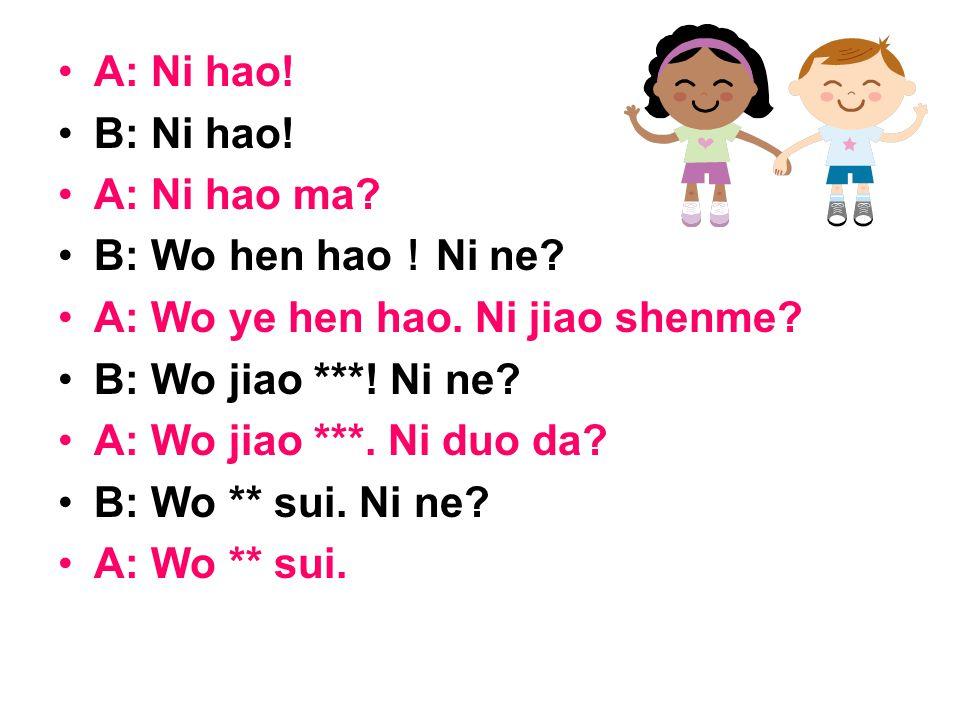 A: Ni hao. B: Ni hao. A: Ni hao ma. B: Wo hen hao ! Ni ne.