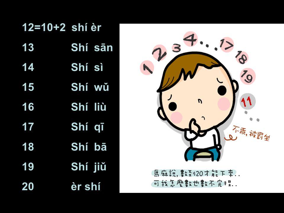12=10+2 shí èr 13 Shí sān 14 Shí sì 15 Shí wǔ 16 Shí liù 17 Shí qī 18 Shí bā 19 Shí jiǔ 20 èr shí