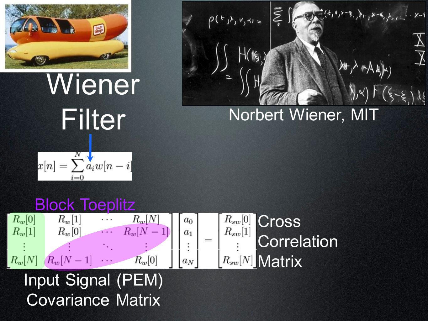 Wiener Filter Input Signal (PEM) Covariance Matrix Norbert Wiener, MIT Block Toeplitz Cross Correlation Matrix