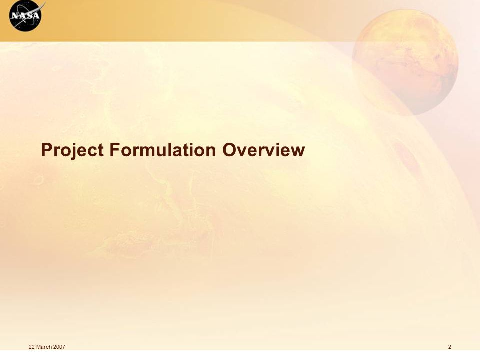 2 Project Formulation Overview