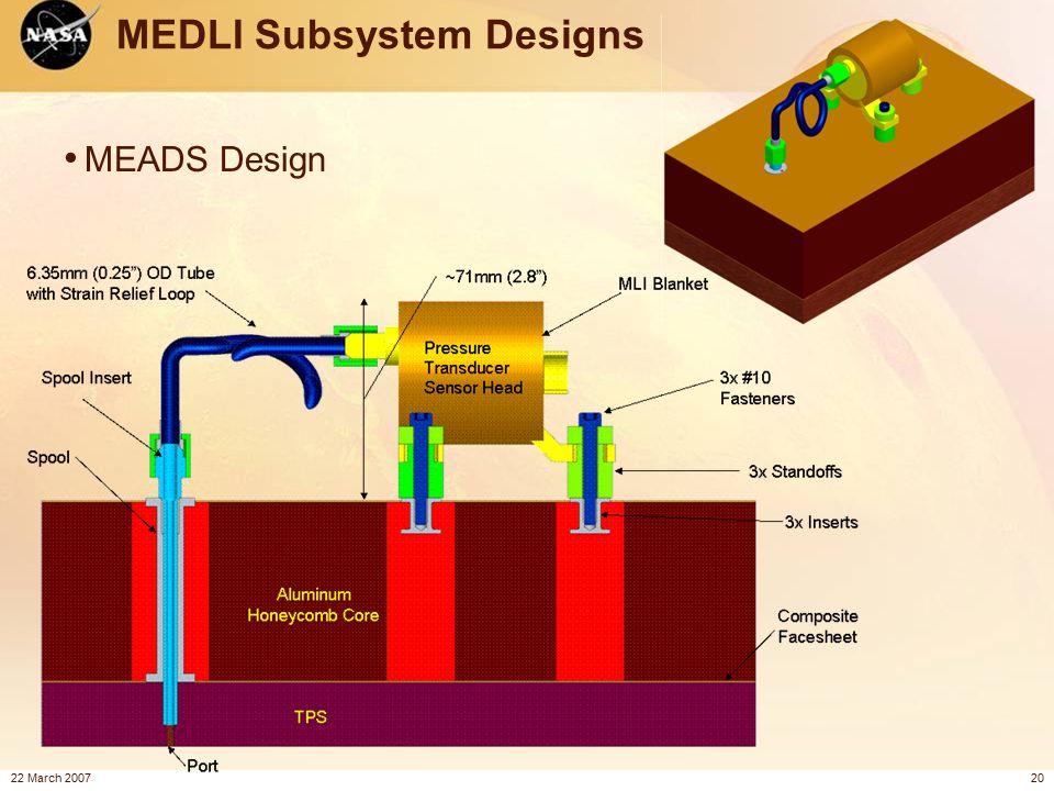 22 March 200720 MEDLI Subsystem Designs MEADS Design