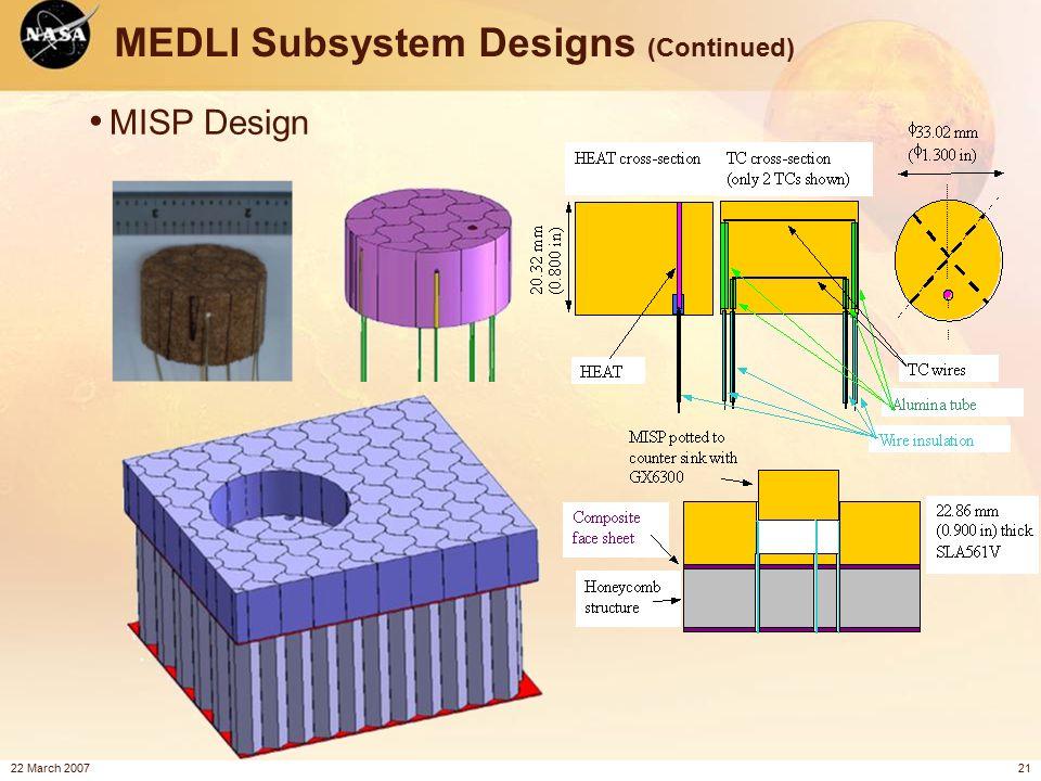 22 March 200721 MEDLI Subsystem Designs (Continued) MISP Design