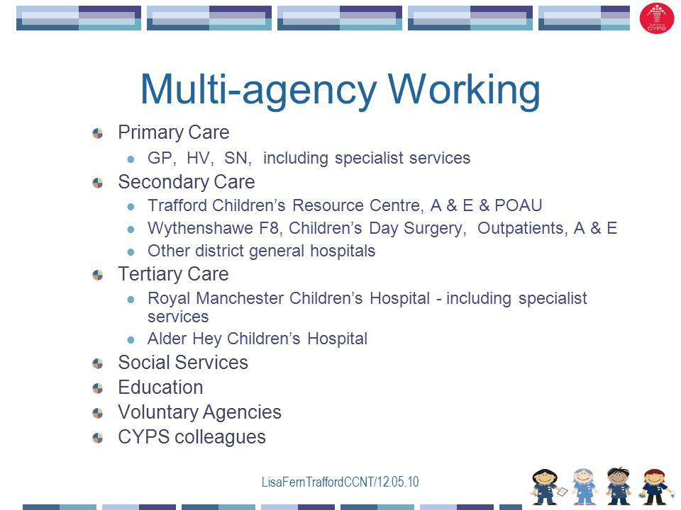 LisaFernTraffordCCNT/12.05.10 Multi-agency Working Primary Care GP, HV, SN, including specialist services Secondary Care Trafford Children's Resource Centre, A & E & POAU Wythenshawe F8, Children's Day Surgery, Outpatients, A & E Other district general hospitals Tertiary Care Royal Manchester Children's Hospital - including specialist services Alder Hey Children's Hospital Social Services Education Voluntary Agencies CYPS colleagues